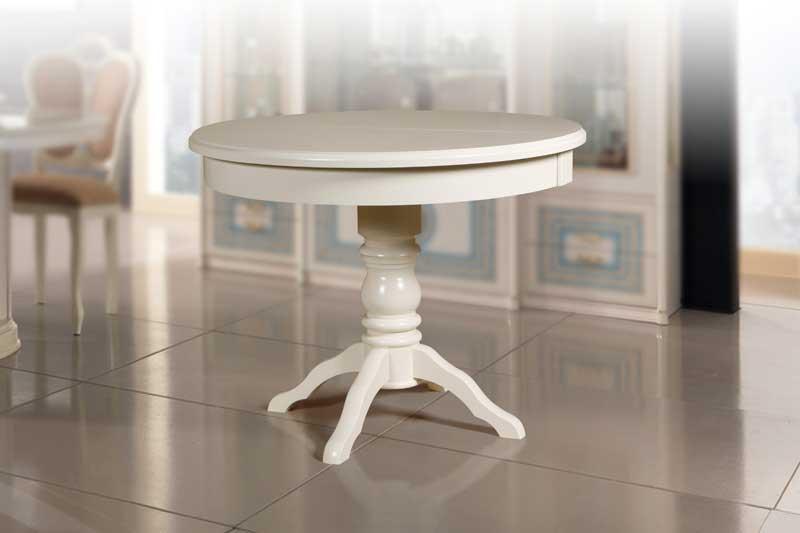 стол круглый массив белый